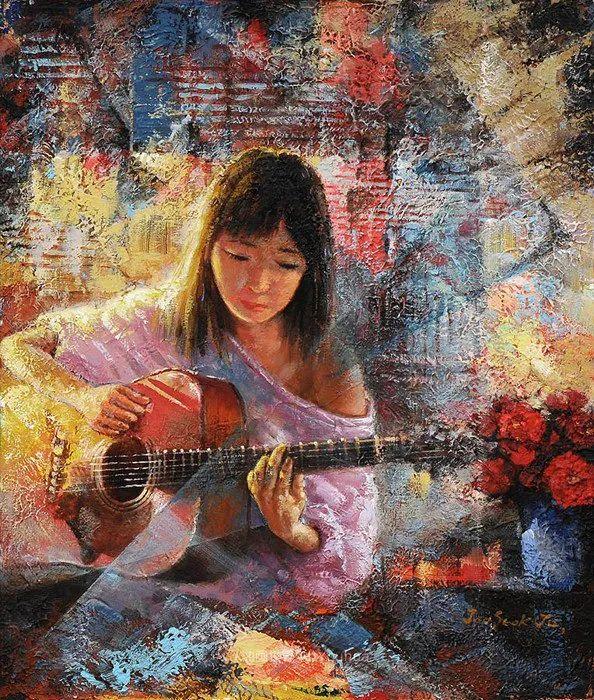 韩国画家 朱世柱 作品: 非常出色,温暖、音乐和神秘!插图5