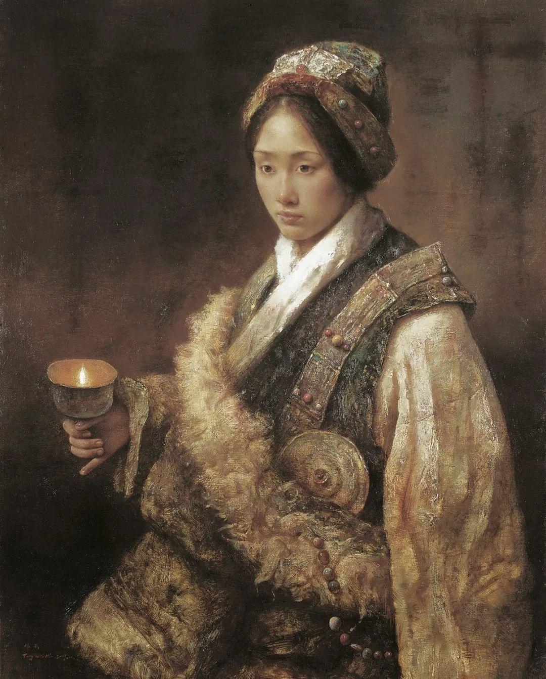 他画的西藏女孩,美得孤高、坚韧!插图67