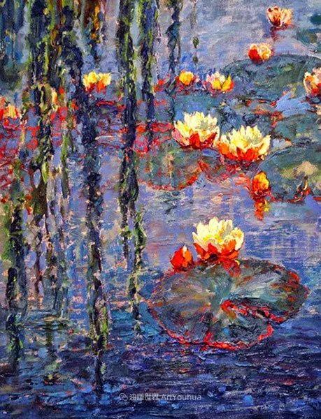 一位老爷爷笔下,色彩浓烈、笔触厚重的花卉与风景作品!插图51