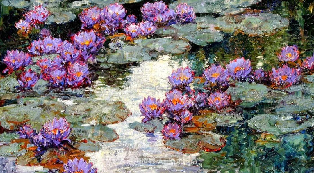 一位老爷爷笔下,色彩浓烈、笔触厚重的花卉与风景作品!插图7