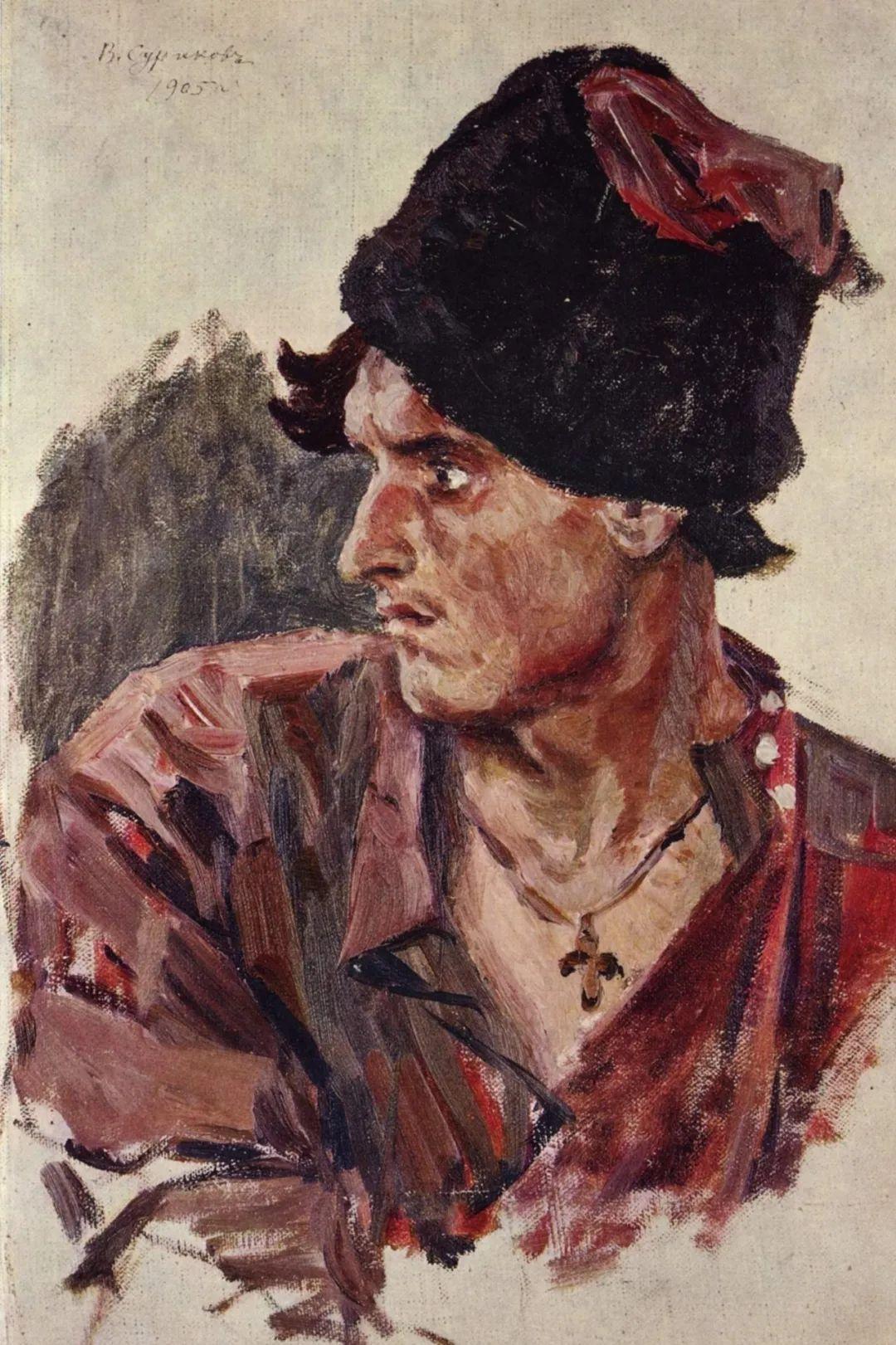 俄罗斯画坛先驱人物,瓦西里·苏里科夫人物作品选粹插图59