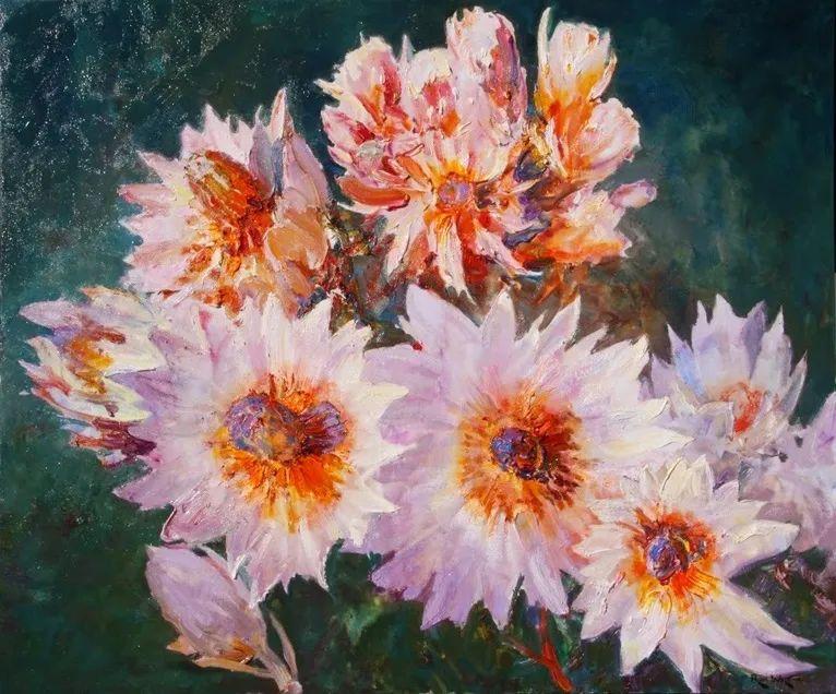 一位老爷爷笔下,色彩浓烈、笔触厚重的花卉与风景作品!插图23