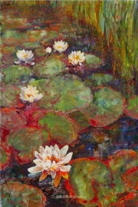 一位老爷爷笔下,色彩浓烈、笔触厚重的花卉与风景作品!插图57