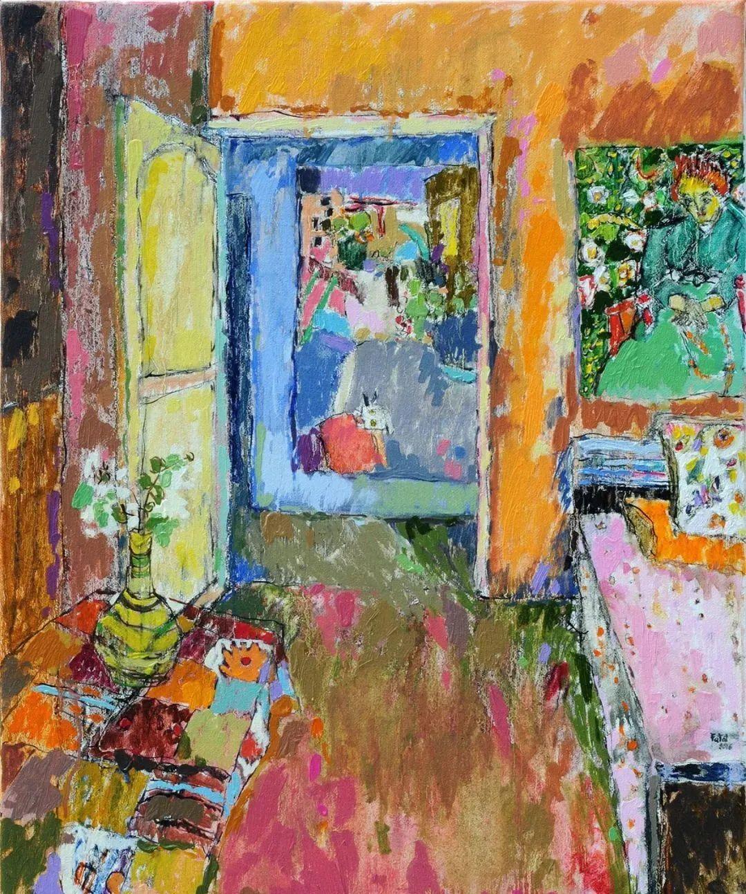 她的油画作品色彩丰富,充满爱意插图1