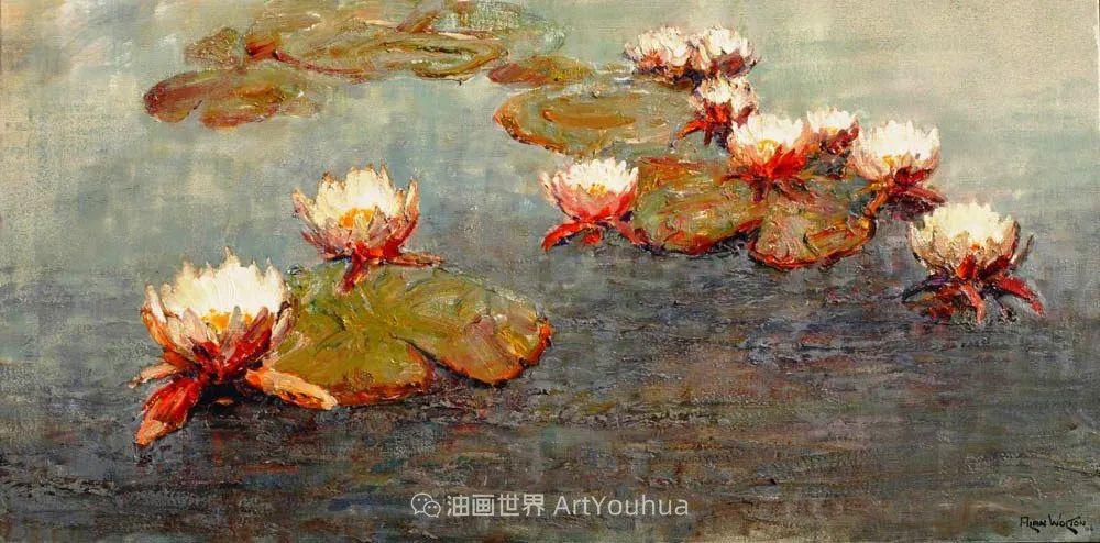 一位老爷爷笔下,色彩浓烈、笔触厚重的花卉与风景作品!插图41