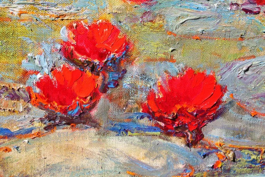 一位老爷爷笔下,色彩浓烈、笔触厚重的花卉与风景作品!插图3