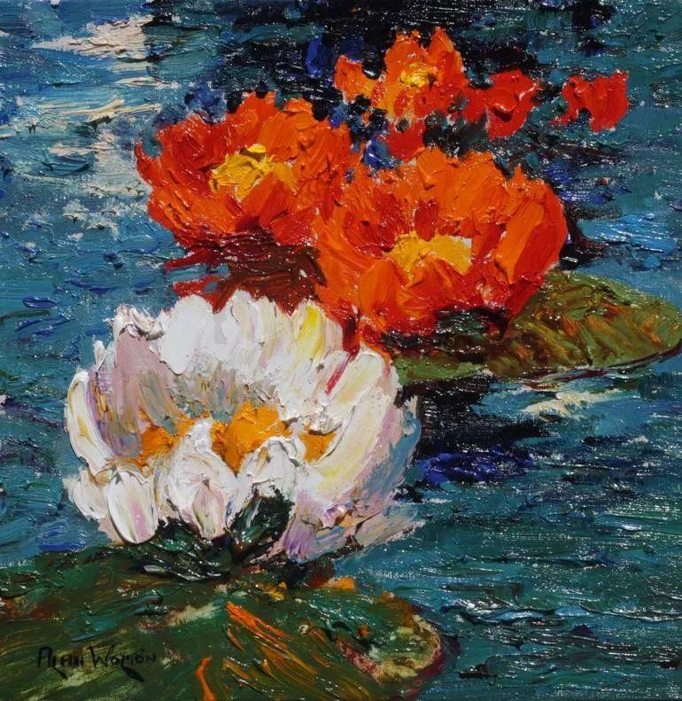 一位老爷爷笔下,色彩浓烈、笔触厚重的花卉与风景作品!插图1