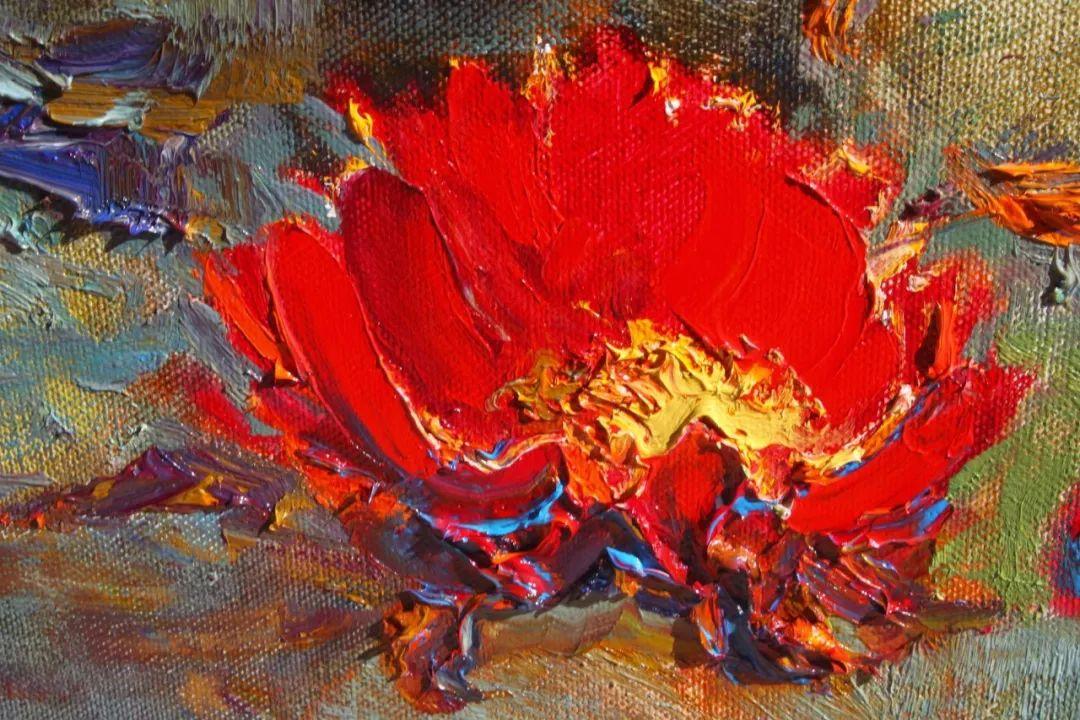 一位老爷爷笔下,色彩浓烈、笔触厚重的花卉与风景作品!插图5