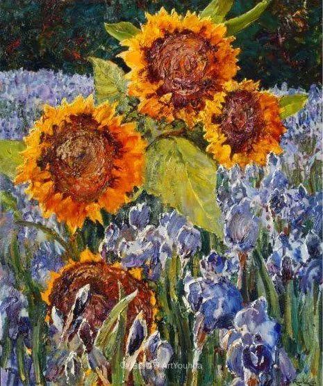 一位老爷爷笔下,色彩浓烈、笔触厚重的花卉与风景作品!插图53