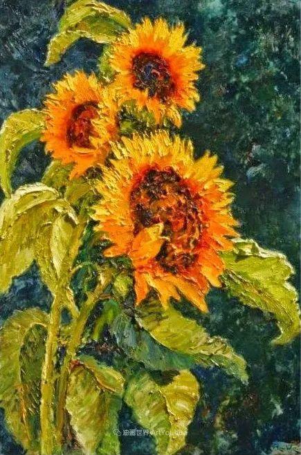 一位老爷爷笔下,色彩浓烈、笔触厚重的花卉与风景作品!插图55