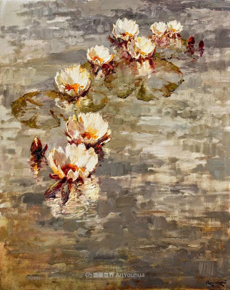 一位老爷爷笔下,色彩浓烈、笔触厚重的花卉与风景作品!插图45