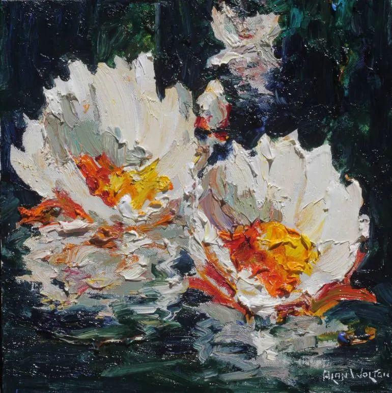 一位老爷爷笔下,色彩浓烈、笔触厚重的花卉与风景作品!插图25