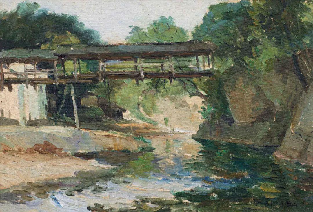 何大桥油画风景与人物插图17