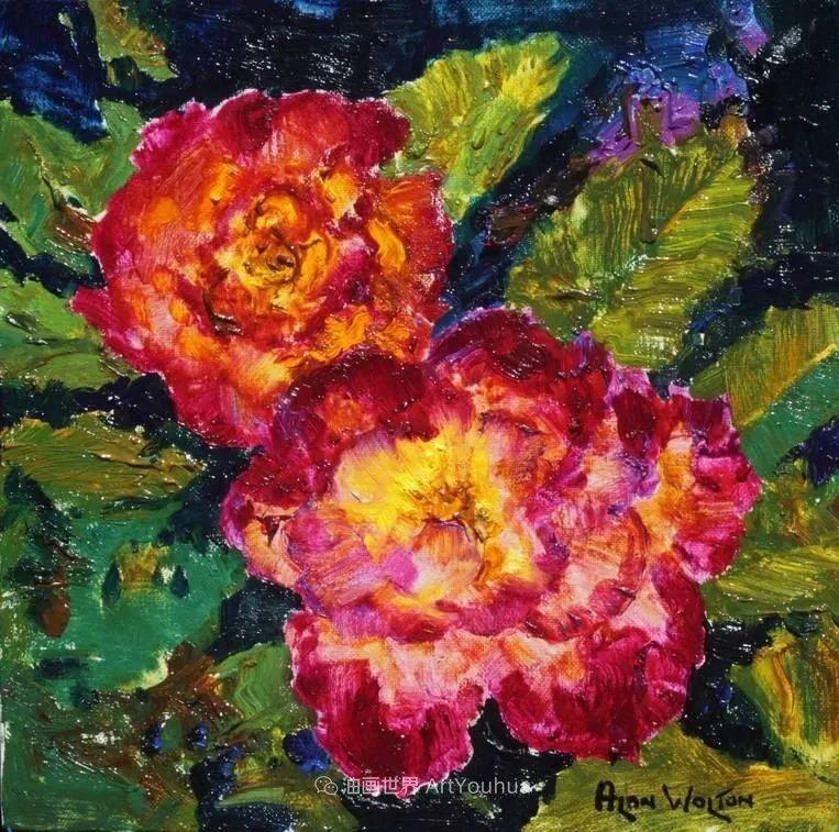 一位老爷爷笔下,色彩浓烈、笔触厚重的花卉与风景作品!插图11