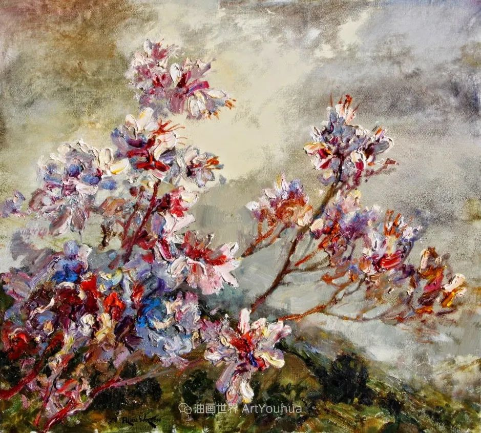 一位老爷爷笔下,色彩浓烈、笔触厚重的花卉与风景作品!插图47