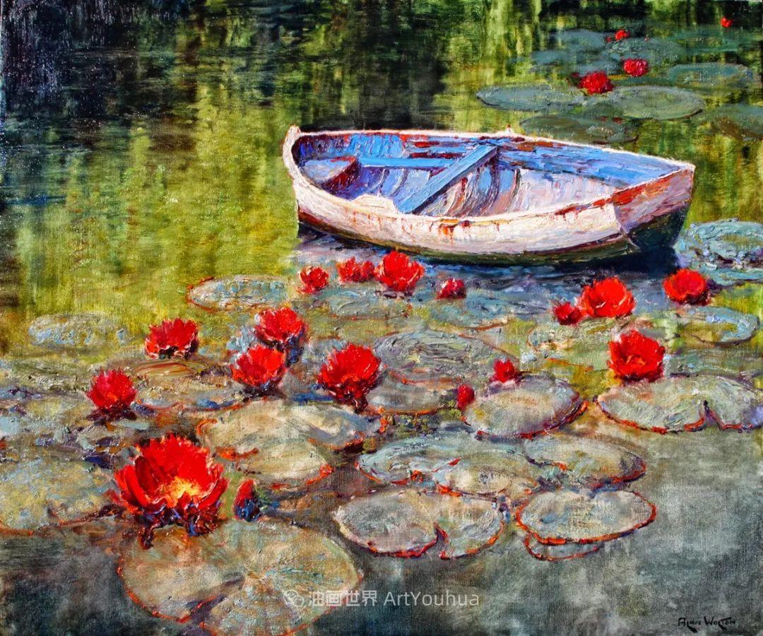 一位老爷爷笔下,色彩浓烈、笔触厚重的花卉与风景作品!插图27