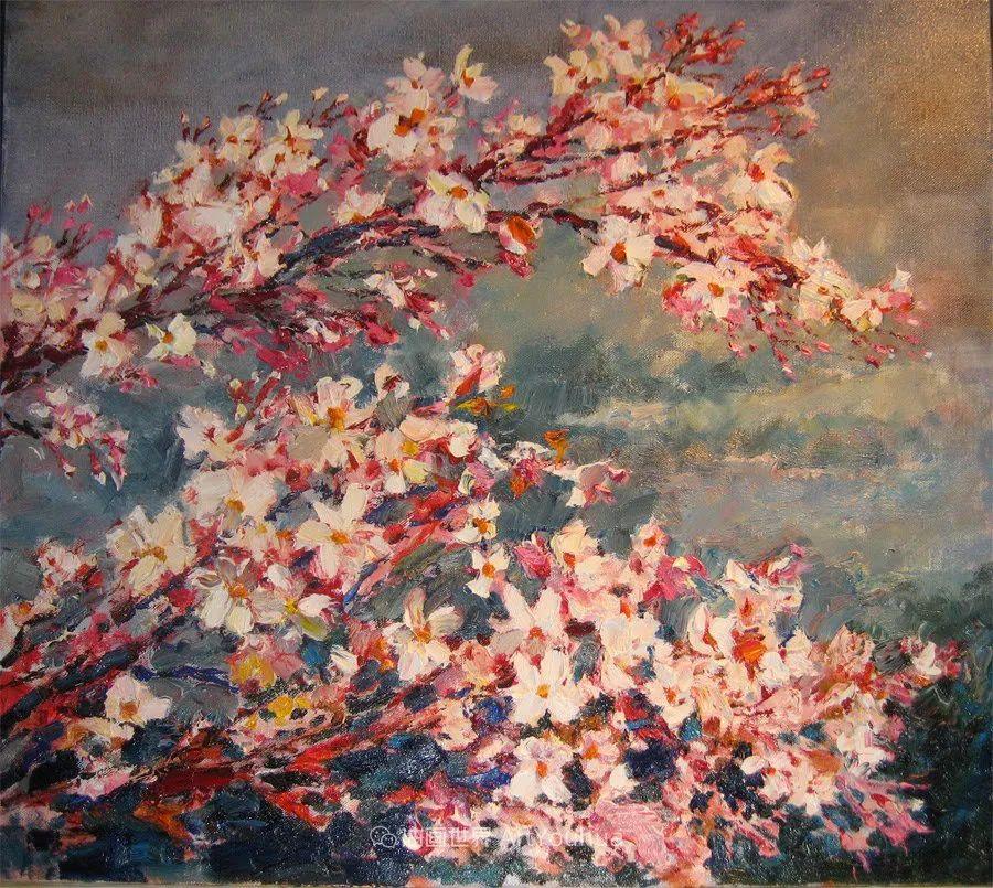 一位老爷爷笔下,色彩浓烈、笔触厚重的花卉与风景作品!插图43