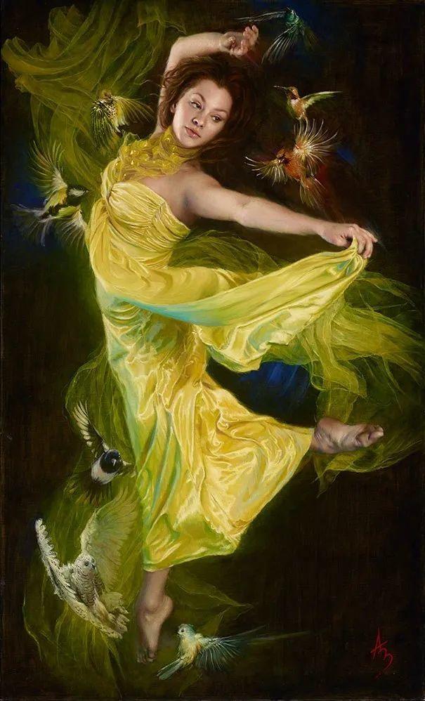 美女画家笔下富有感染力、戏剧性的唯美油画!插图16