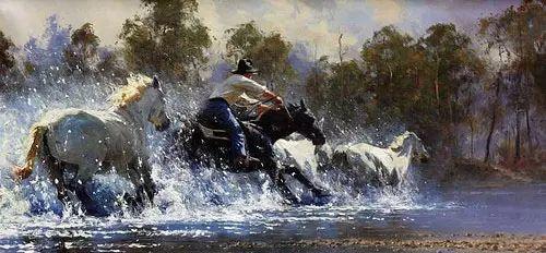 奔放的牛仔:罗伯特 黑根 的澳大利亚风情油画插图5