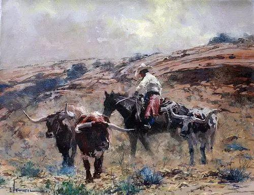 奔放的牛仔:罗伯特 黑根 的澳大利亚风情油画插图39