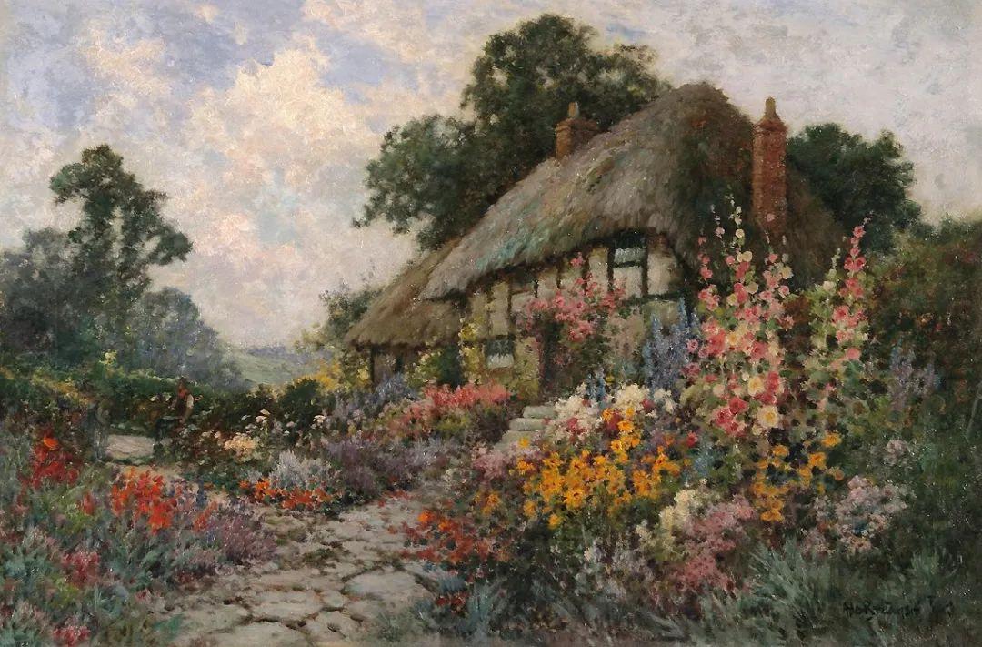 色彩斑斓的花园风景画插图1