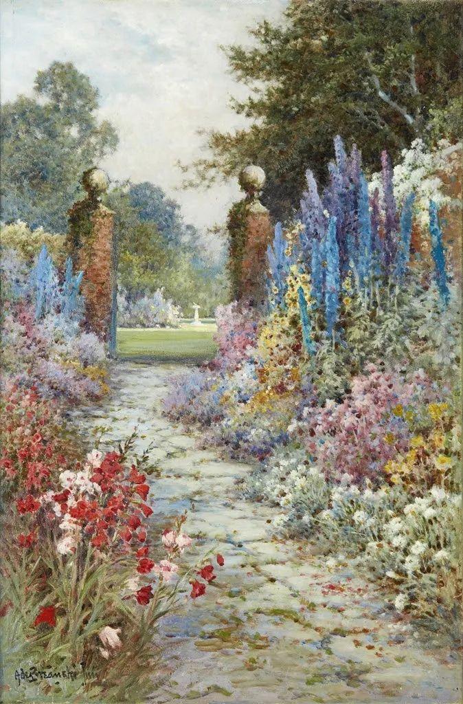色彩斑斓的花园风景画插图37