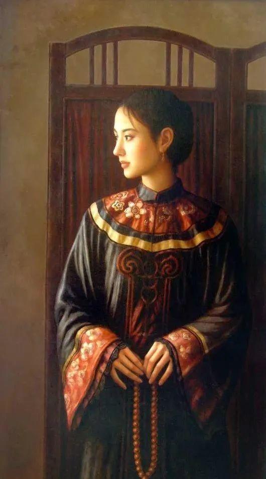 优雅柔美的东方女子,著名艺术家姜迎久的油画艺术作品赏析插图5