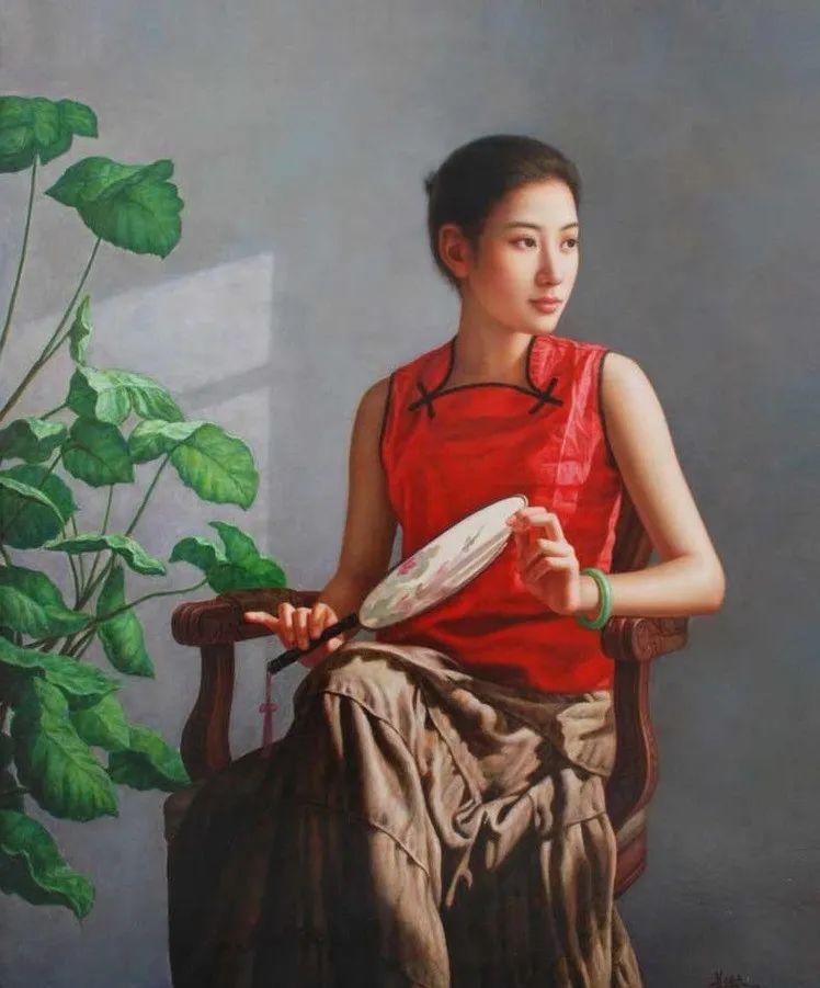 优雅柔美的东方女子,著名艺术家姜迎久的油画艺术作品赏析插图7