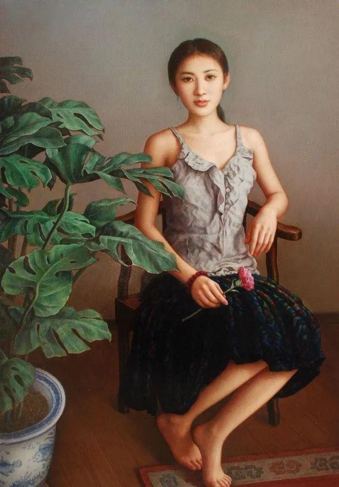 优雅柔美的东方女子,著名艺术家姜迎久的油画艺术作品赏析插图11
