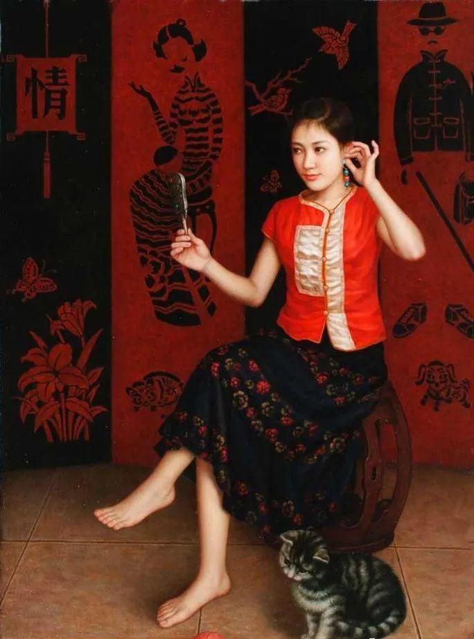 优雅柔美的东方女子,著名艺术家姜迎久的油画艺术作品赏析插图17