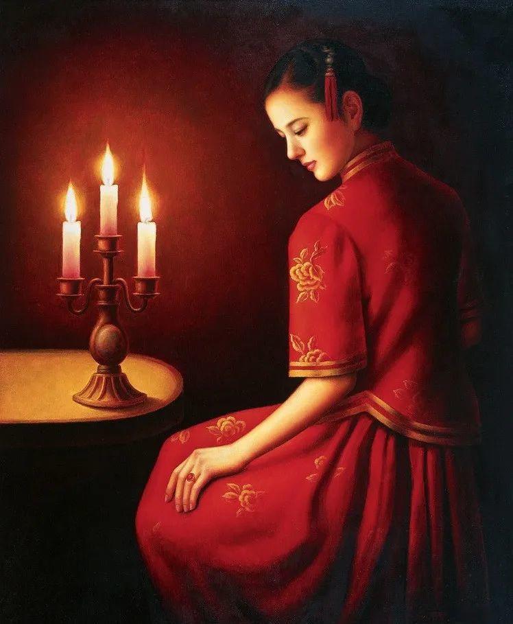 优雅柔美的东方女子,著名艺术家姜迎久的油画艺术作品赏析插图37