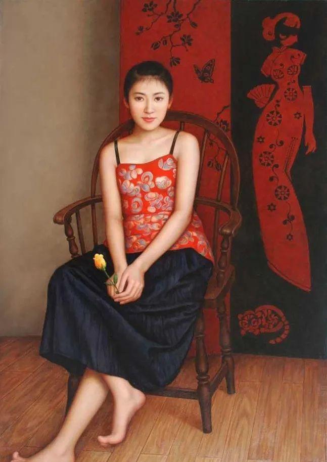优雅柔美的东方女子,著名艺术家姜迎久的油画艺术作品赏析插图39