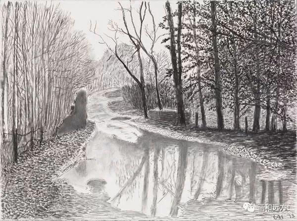 回归素描的美感——大卫·霍克尼素描风景作品插图7