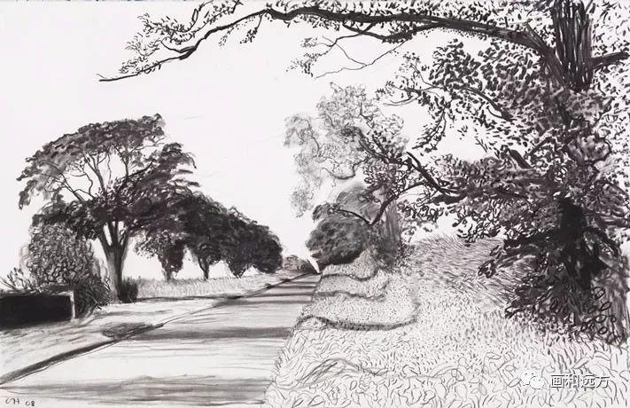 回归素描的美感——大卫·霍克尼素描风景作品插图97