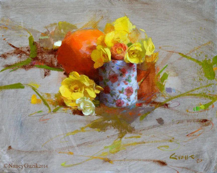 南希·古兹克笔下的花卉静物油画,爱了!插图1