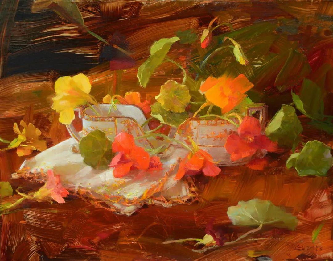 南希·古兹克笔下的花卉静物油画,爱了!插图7