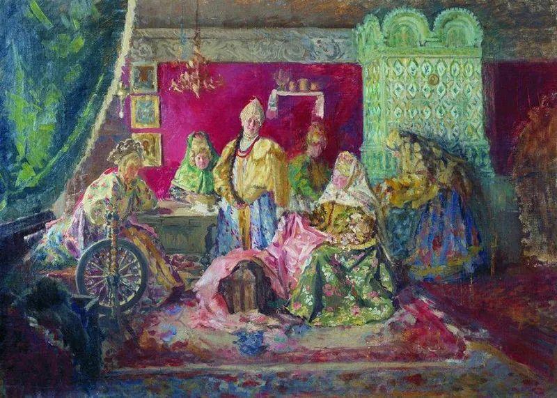 俄罗斯肖像和风俗画家——伊万·库里科夫,曾协助列宾完成巨作插图17